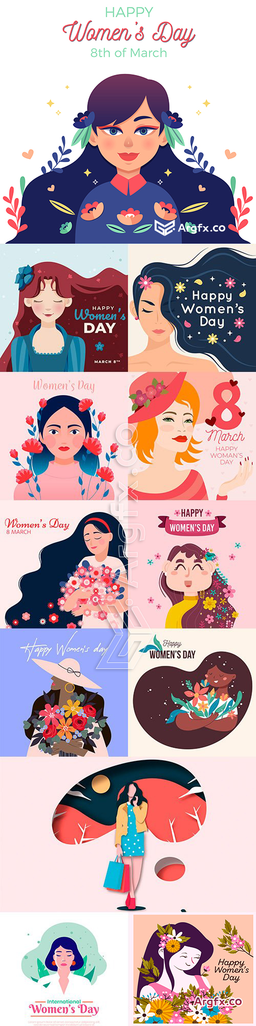 March 8 and Women's Day illustration flat design 6