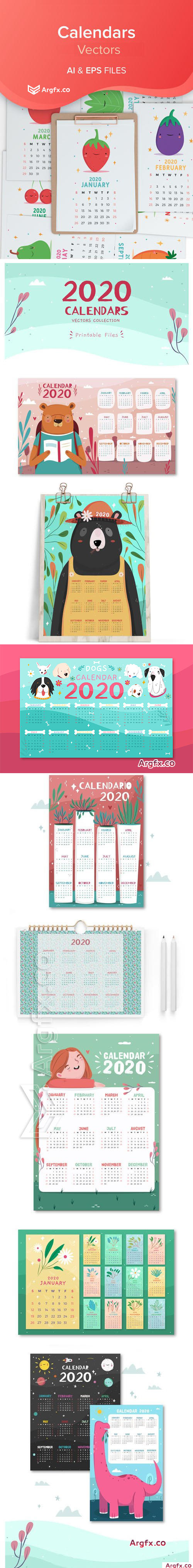 2020 Calendars Vector Collection 2