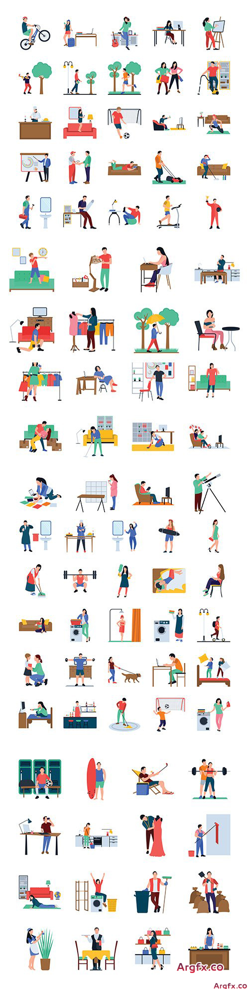 Set icons everyday life flat vector design