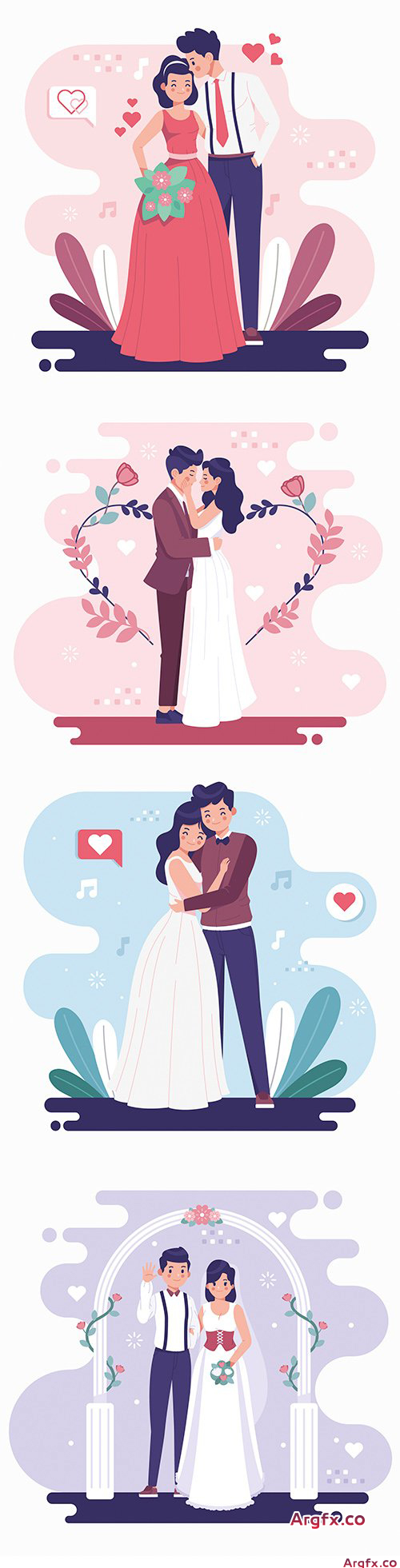 Happy wedding and romantic couple flat design