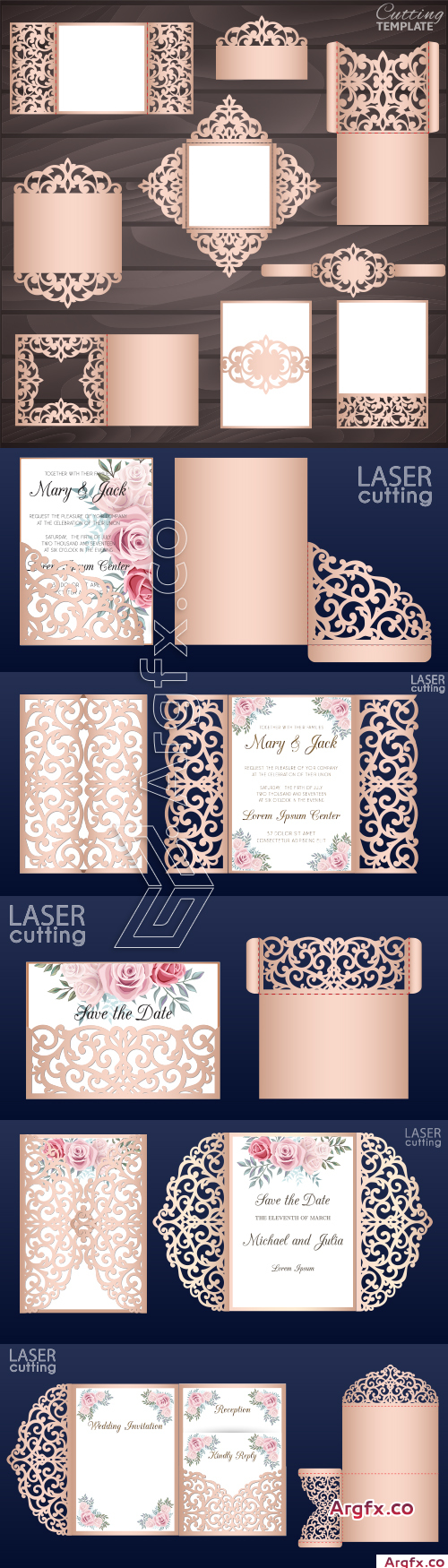 Wedding collection vector cards, invitation, envelopes