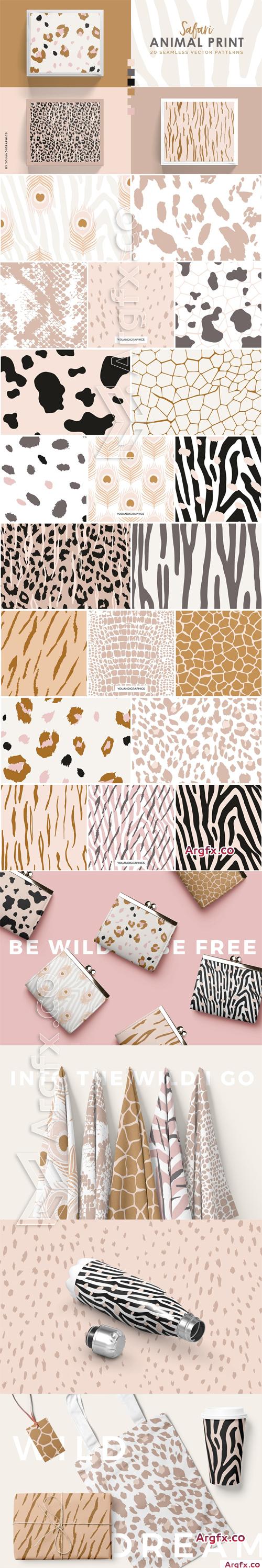 Safari - Animal Print Seamless Vector Patterns
