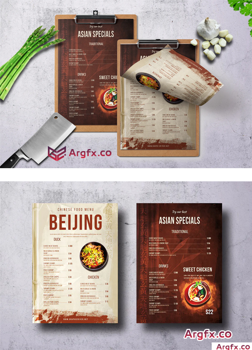 Chinese Single Page A4 & US Letter Food Menu