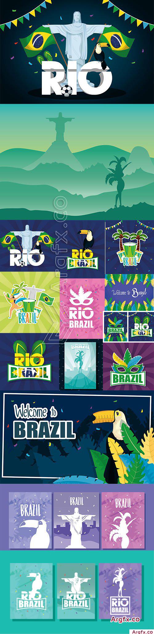 Brazil Carnival Premium Illustrations Vector Set