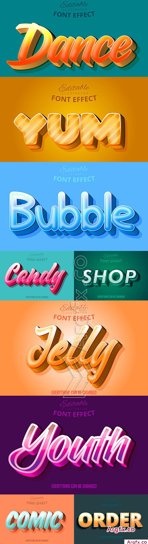Editable font effect text collection illustration 25