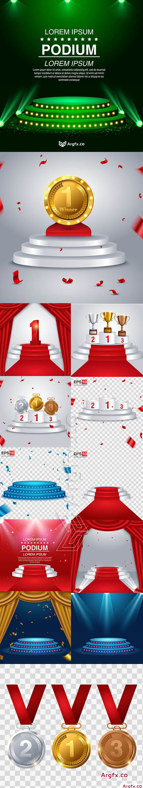 Red Carpet Round Podium Backgrounds