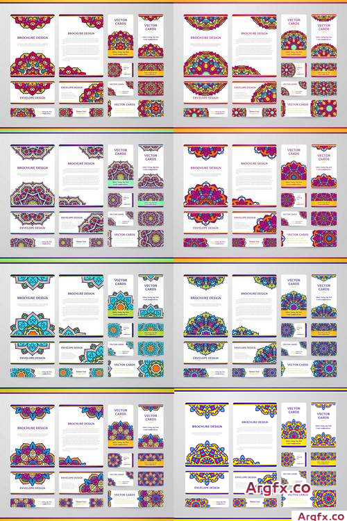 Business Cards with Mandala - Vector Template, Tribal Theme