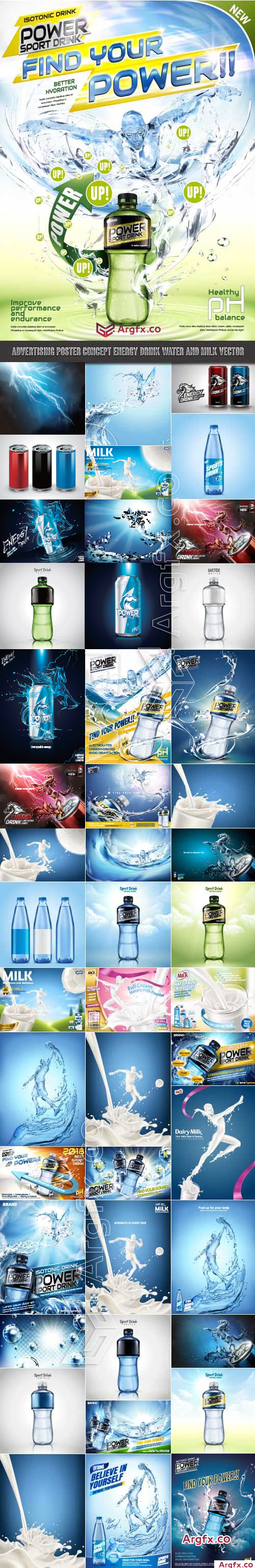 Advertising Poster Concept Energy Drink Water and Milk vector