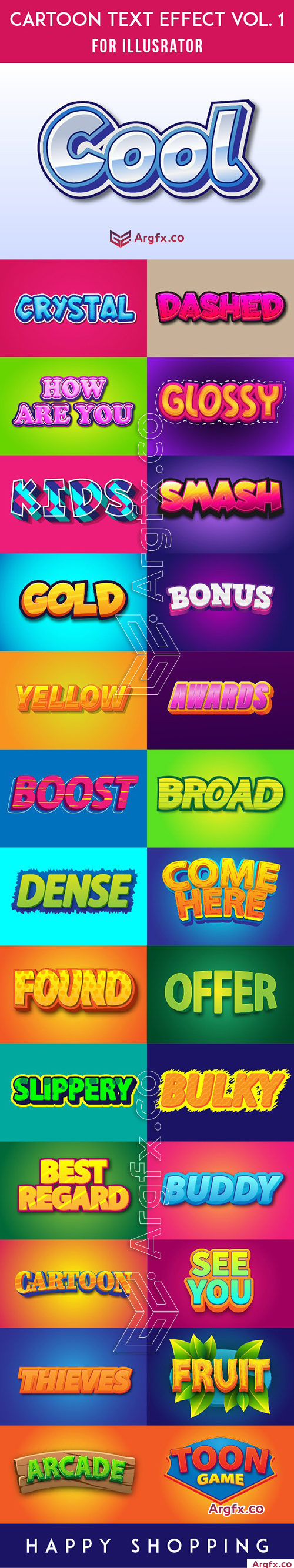 Cartoon AI Text Effect 27 Style Vol. 1 2999624