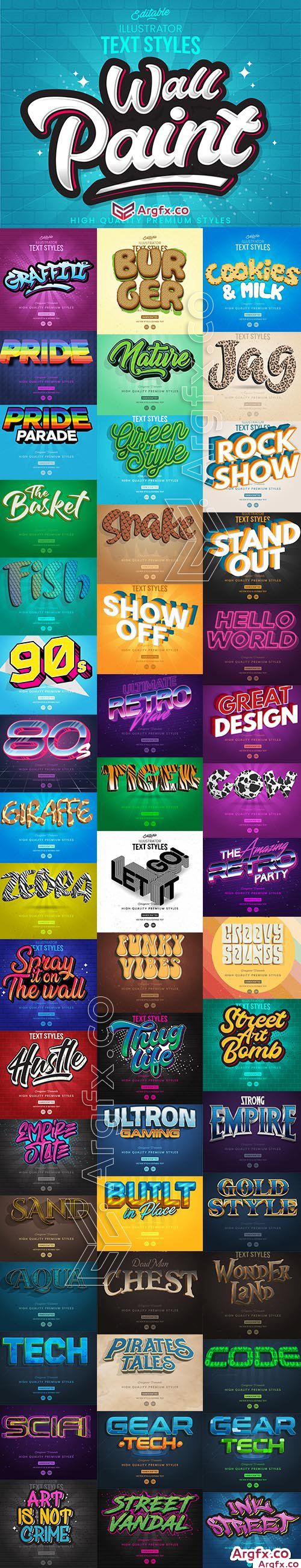 Collection of 50 Different Text Style Template