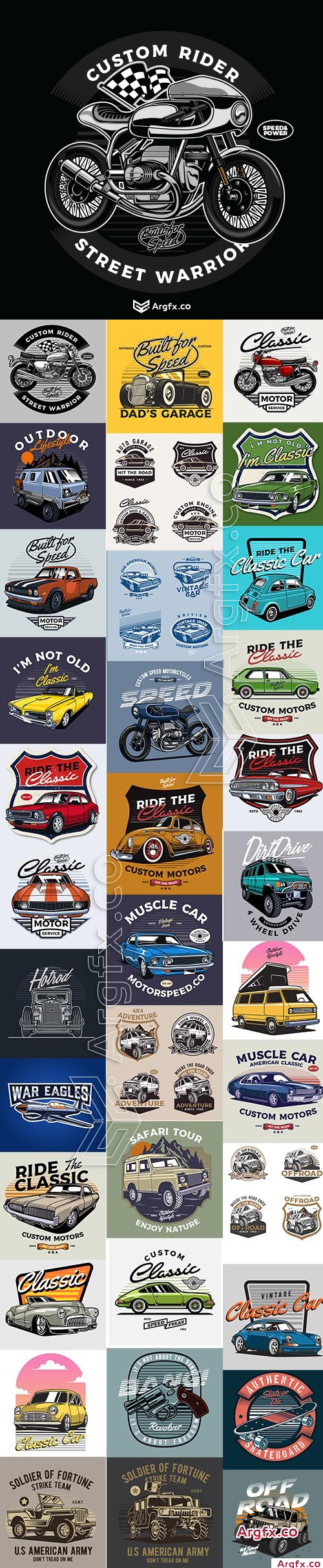 Classic Car and Moto Badge and Illustration Vector Collection