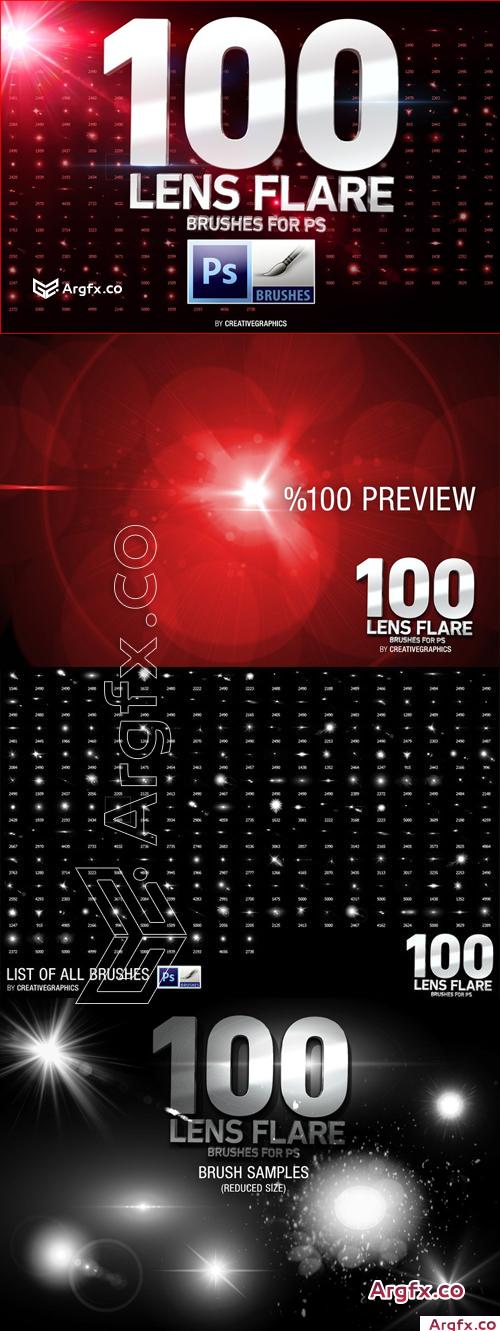 100 Lens Flare Brushes for Photoshop - CM 207109