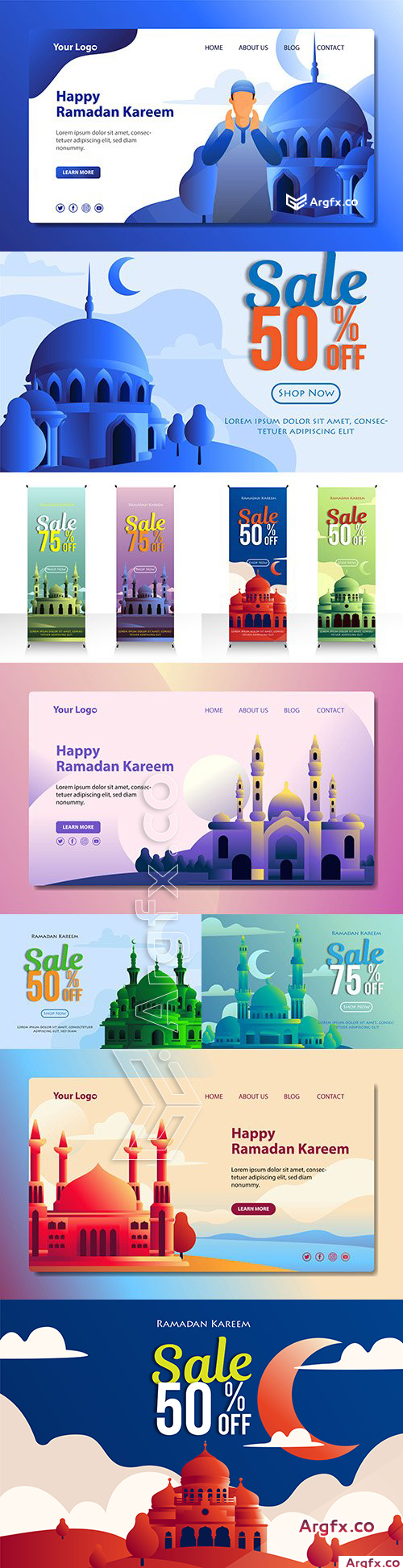 Ramadan sales and landing page mosque illustration