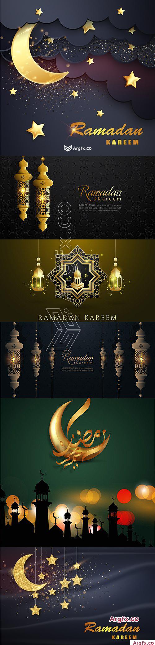 Ramadan Kareem moon and luxurious Islamic background elements