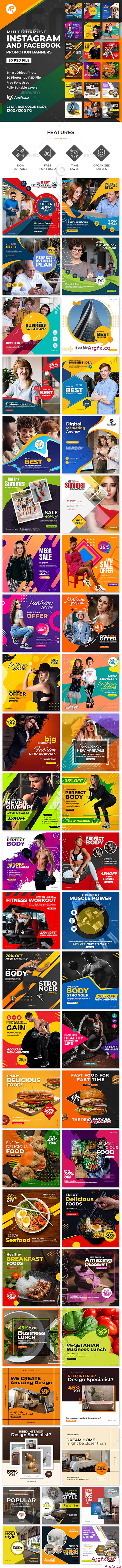 GraphicRiver - 50-Instagram & Facebook Banners 25636114