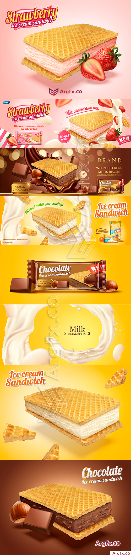 Milk flavoured ice cream sandwich with wafer cookies in 3d illustration