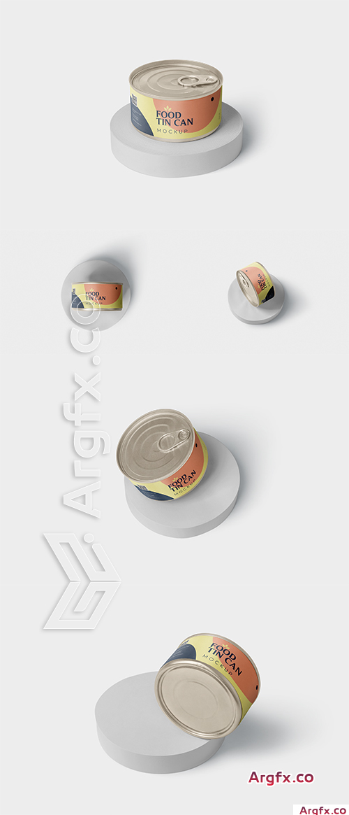 Food Tin Can Mockup Small Size - Round