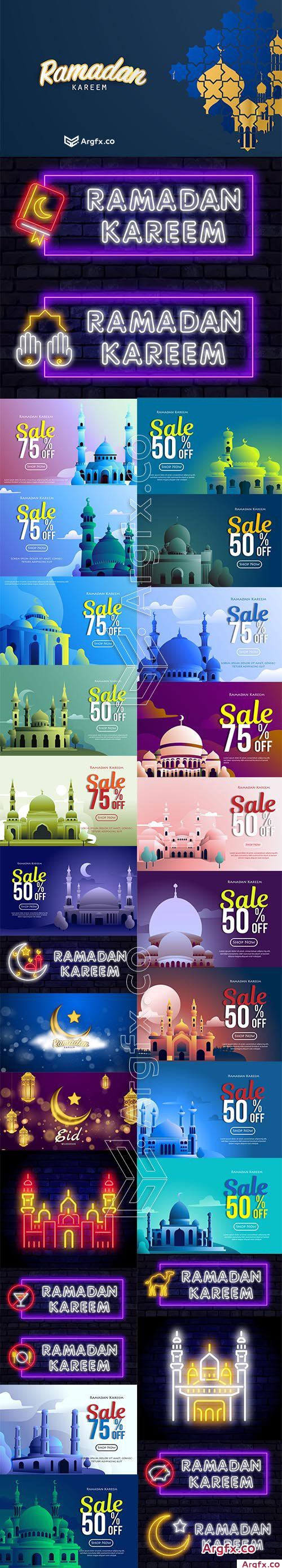 Collection of Ramadan Kareem Neon, Sale Illustration