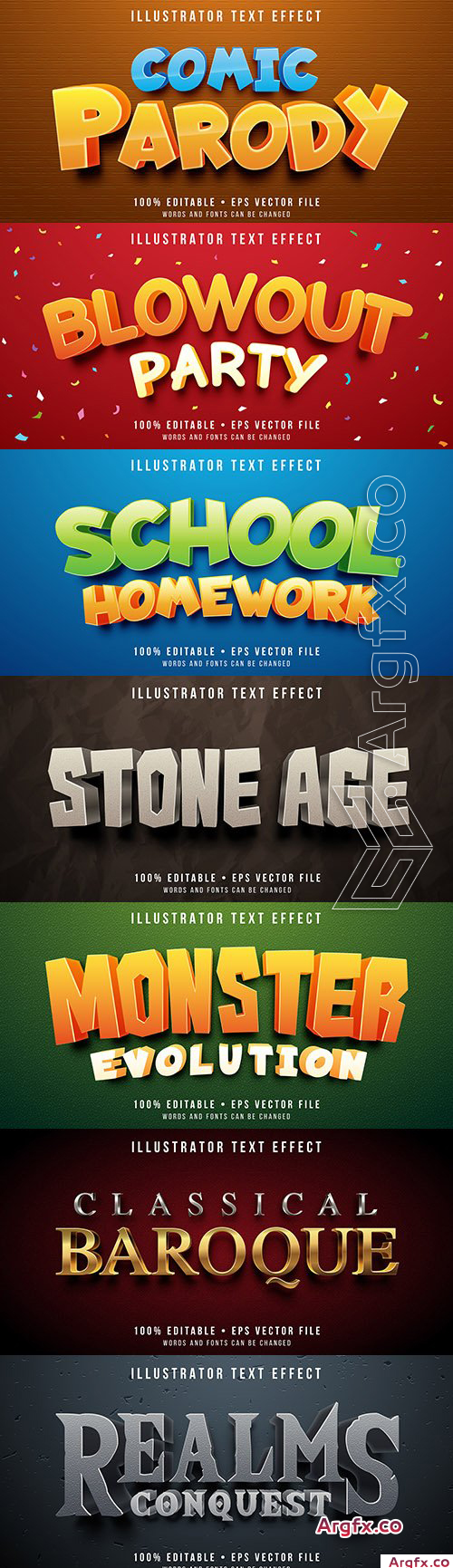 3d Editable font effect text collection illustration 33