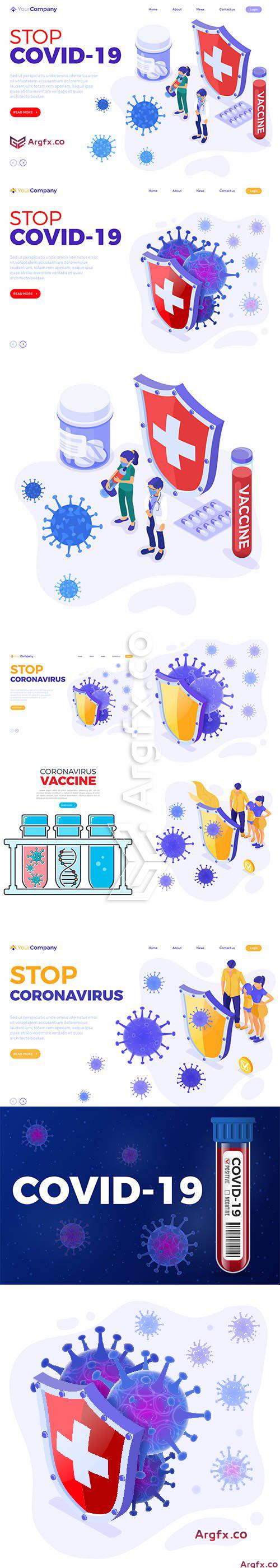 Stop Coronavirus Illustration Set